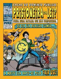 Capa de quadrinhos, superherói com filmadora e creative commons escudo