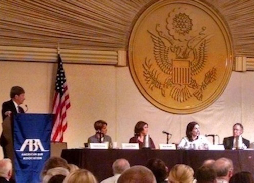 Photo of Dunlap moderating ABA panel on Law and Future War