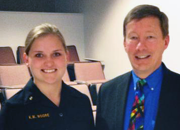 After his presentation on civil-military relations at the U. S. Naval Academy Professor Dunlap spoke with Midshipman Katie Moore about opportunities as a military lawyer.