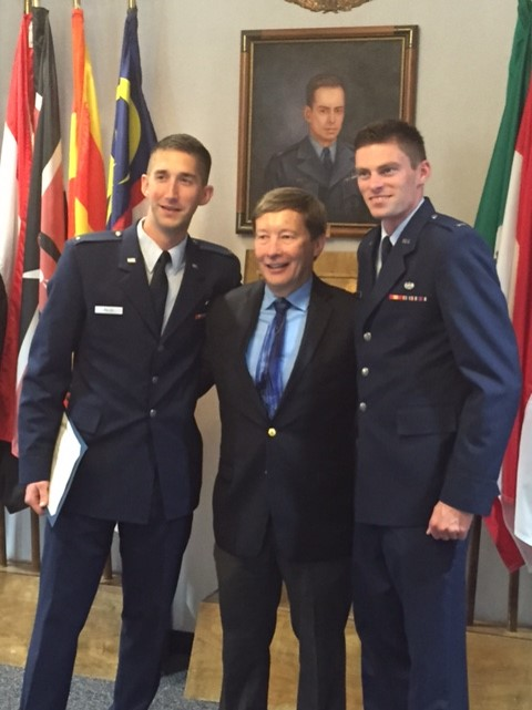 On April 24th 2015, Maj. Gen. Dunlap awarded Judge Advocate Specialty badges to two former students, First Lieutenants Chris Pilch and Greg Speirs upon their graduation from the U.S. Air Force's Judge Advocate Staff Officers' Course.