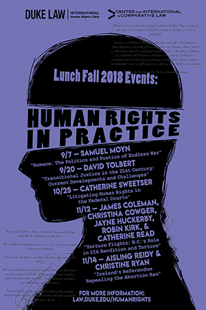 Poster with details about lunch Fall 2017 events about Human Rights in Practie