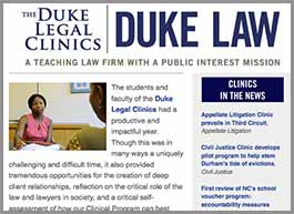 Cover of the Duke Legal Clinics newsletter