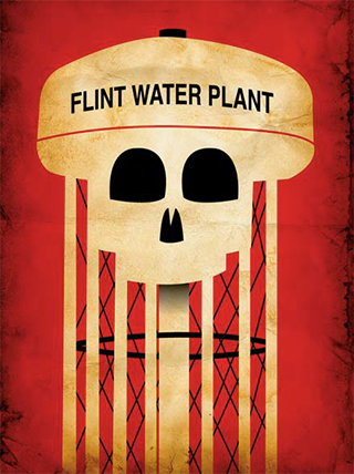 "Illustration of skull on water tower that reads ""Flint Water Plant"""