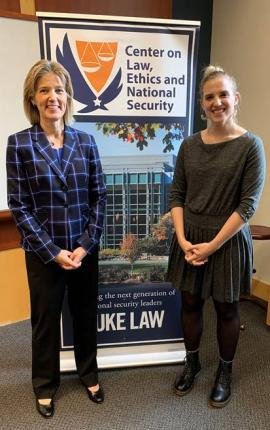 Ellie Studdard, the Chair of the NSL Society, with the FBI's Amy Hess, our luncheon speaker on Nov. 4