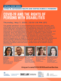 VIRTUAL -- COVID-19: Advancing Rights and Justice During a Pandemic -- COVID-19 and the Rights of Persons with Disabilities