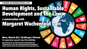 Careers in International Law: Human Rights, Sustainable Development and the Law, a Conversation with Margaret Wachenfeld (L'89); March 22, 2021 at 12:30 pm (ET); Virtual