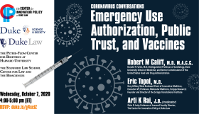 Coronavirus Conversations -- Emergency Use Authorization, Public Trust, and Vaccines | October 7 at 4:00 p.m. | RSVP duke.is/g4sciZ