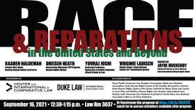 Race & Reparations in the United States and Beyond, with Kaaren Haldeman, Dreisen Heath, Yuvraj Joshi, Virginie Ladisch, Jayne Huckerby; Thursday, 16 September, 12:30-1:15 p.m.